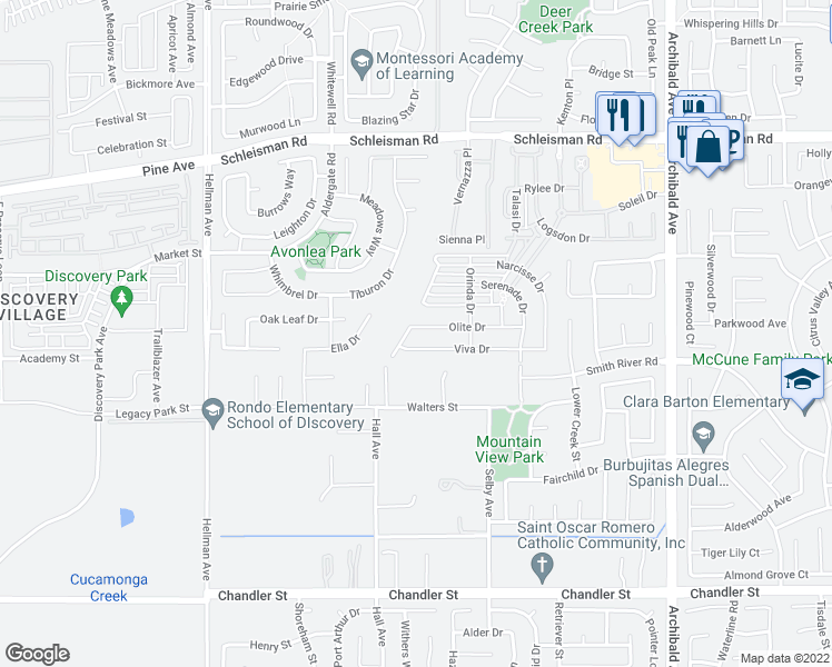 map of restaurants, bars, coffee shops, grocery stores, and more near 14651 Olite Drive in Corona