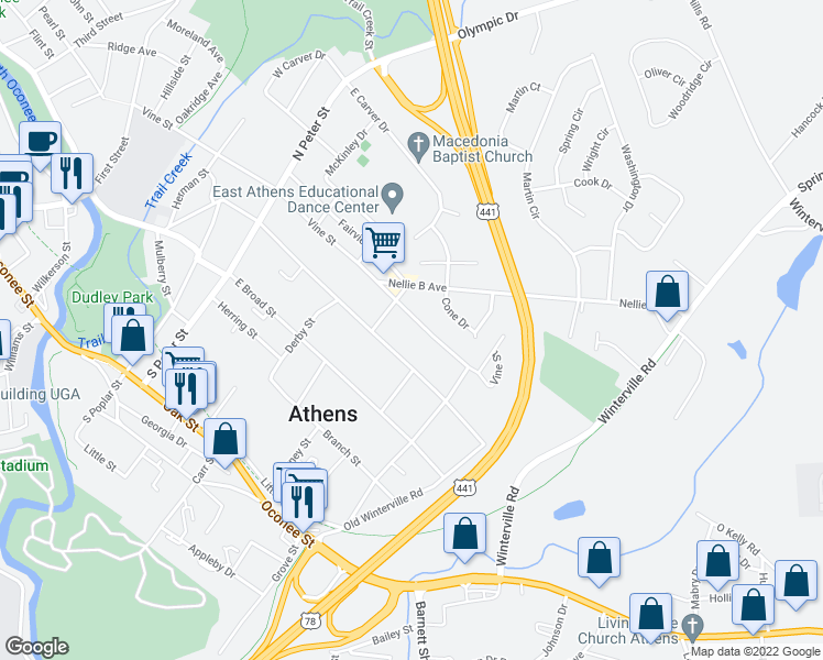 map of restaurants, bars, coffee shops, grocery stores, and more near 640 Vine Street in Athens