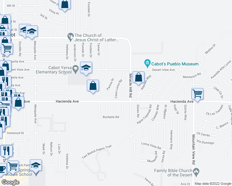map of restaurants, bars, coffee shops, grocery stores, and more near 12775 Casa Loma Road in Desert Hot Springs