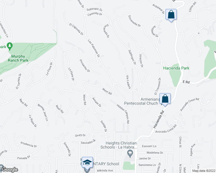 map of restaurants, bars, coffee shops, grocery stores, and more near 609 West Road in La Habra Heights