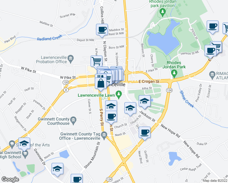 map of restaurants, bars, coffee shops, grocery stores, and more near 166 East Crogan Street in Lawrenceville