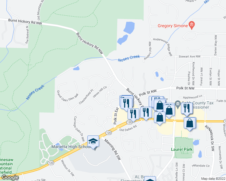 map of restaurants, bars, coffee shops, grocery stores, and more near 1001 Burnt Hickory Road Northwest in Marietta