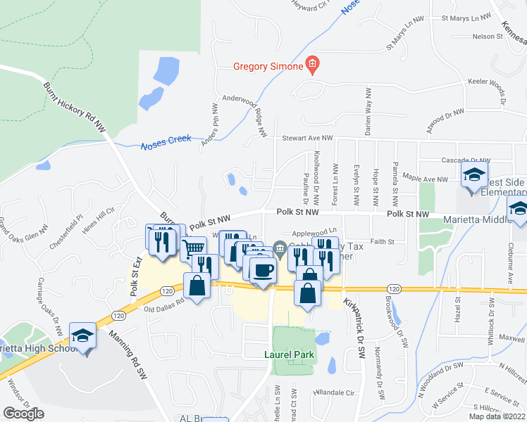 map of restaurants, bars, coffee shops, grocery stores, and more near Mountain View Road Northwest in Marietta