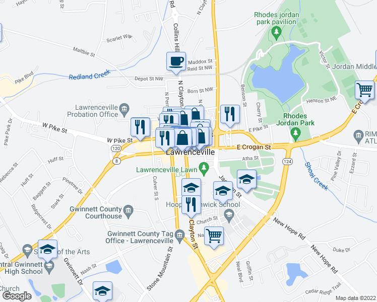 map of restaurants, bars, coffee shops, grocery stores, and more near 188 West Pike Street in Lawrenceville