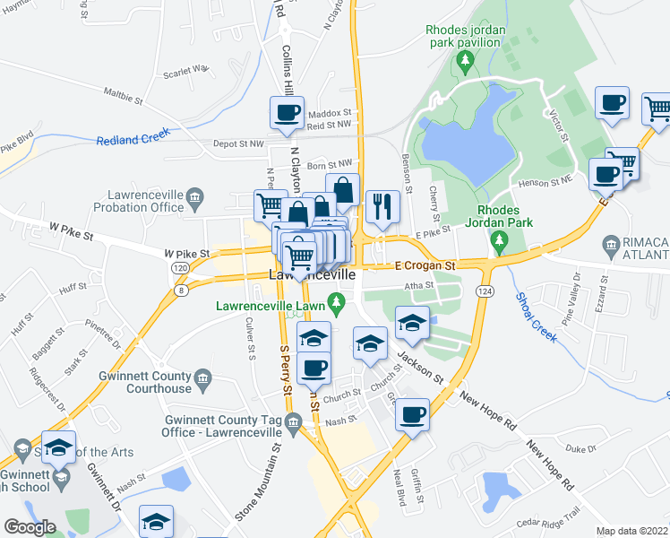 map of restaurants, bars, coffee shops, grocery stores, and more near 121 East Crogan Street in Lawrenceville