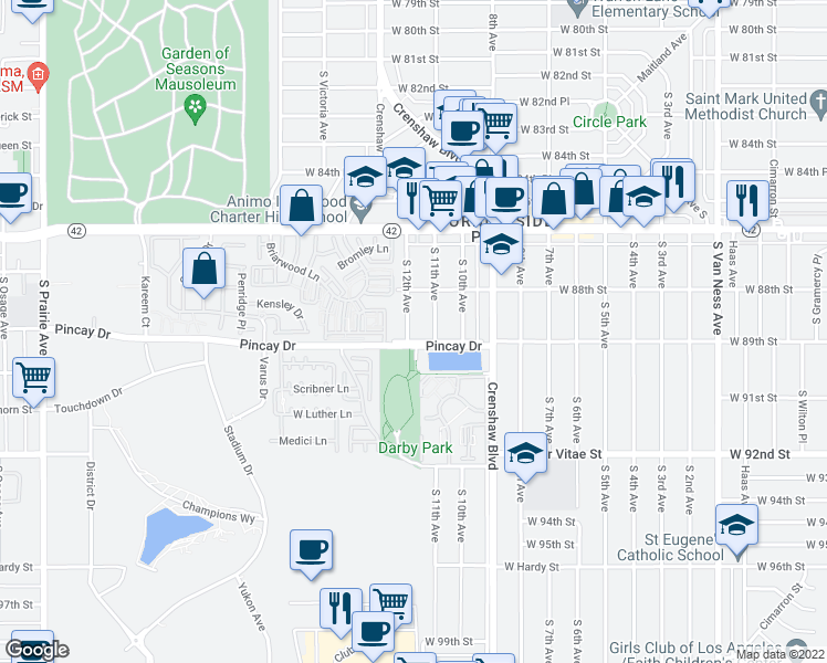 map of restaurants, bars, coffee shops, grocery stores, and more near 8934 South 12th Avenue in Inglewood