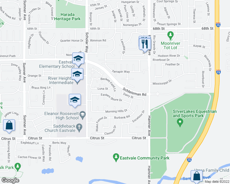map of restaurants, bars, coffee shops, grocery stores, and more near 7064 Beckett Field Lane in Eastvale