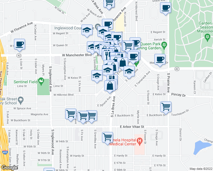 map of restaurants, bars, coffee shops, grocery stores, and more near S