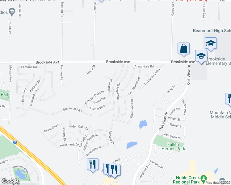map of restaurants, bars, coffee shops, grocery stores, and more near 1719 Scottsdale Road in Beaumont
