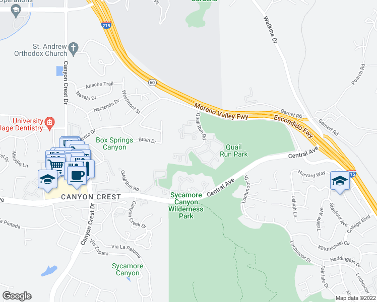 map of restaurants, bars, coffee shops, grocery stores, and more near 5377 Quail Run Road in Riverside