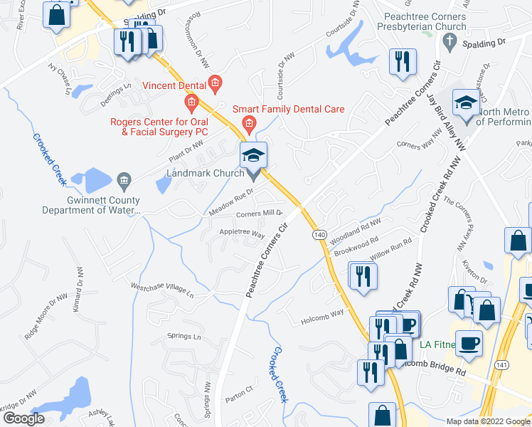 map of restaurants, bars, coffee shops, grocery stores, and more near 604 Noble Forest Drive in Norcross