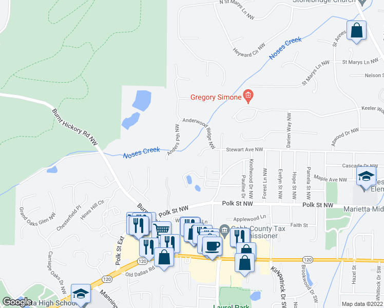 map of restaurants, bars, coffee shops, grocery stores, and more near 808 Meyer View Lane in Marietta