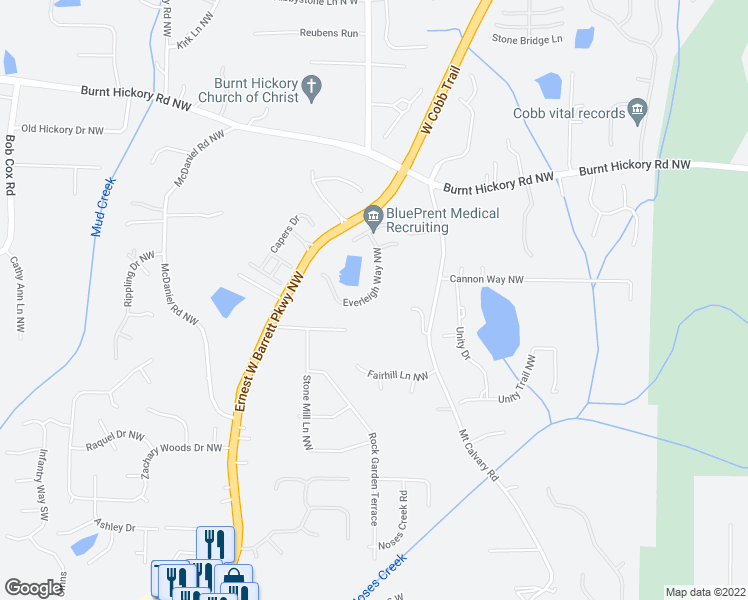 map of restaurants, bars, coffee shops, grocery stores, and more near 266 Everleigh Way Northwest in Marietta