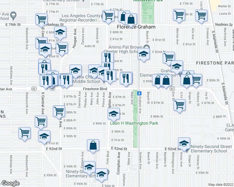 map of restaurants, bars, coffee shops, grocery stores, and more near 1523 East 87th Street in Los Angeles