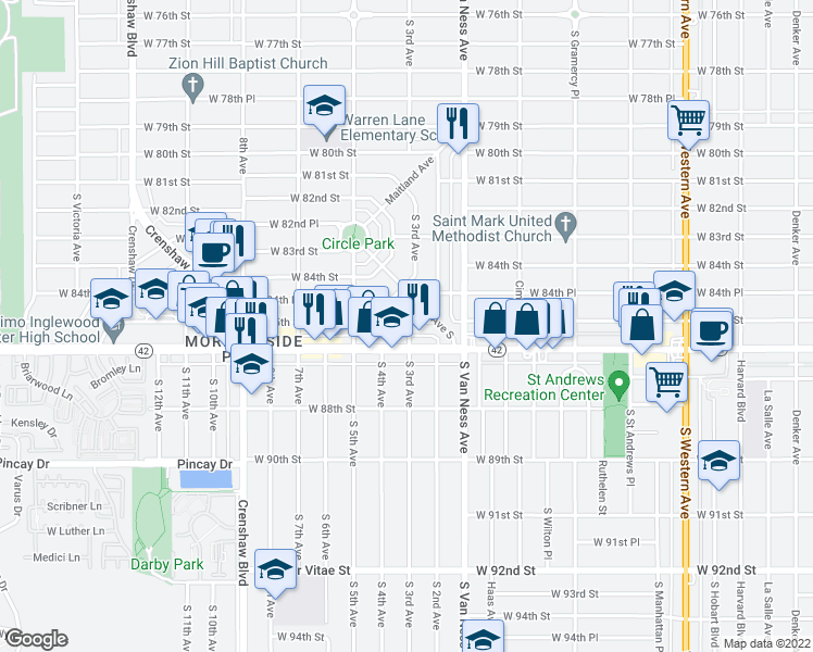 map of restaurants, bars, coffee shops, grocery stores, and more near 2401 West Manchester Boulevard in Inglewood