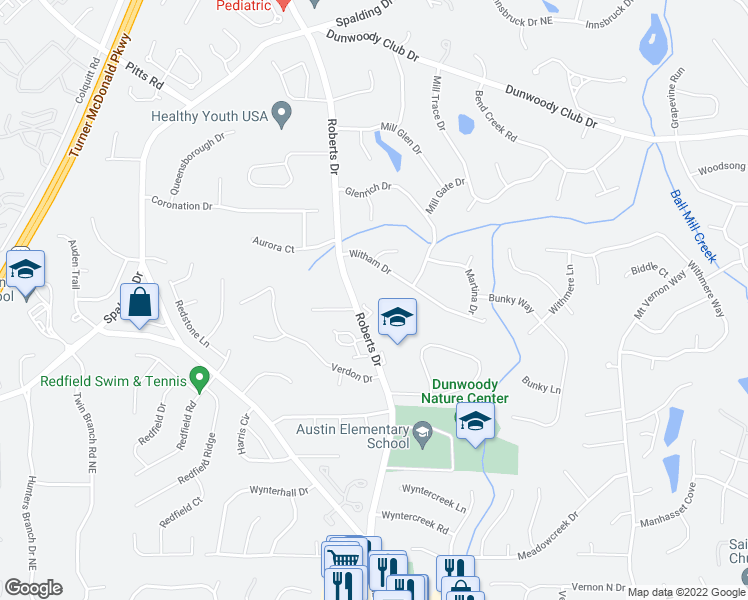 map of restaurants, bars, coffee shops, grocery stores, and more near 1285 Witham Drive in Dunwoody