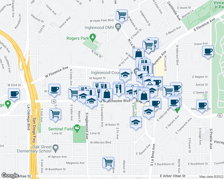 map of restaurants, bars, coffee shops, grocery stores, and more near 200 West Queen Street in Inglewood