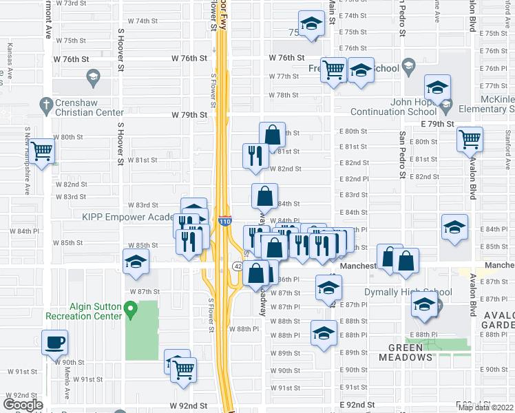 map of restaurants, bars, coffee shops, grocery stores, and more near 8408 South Broadway in Los Angeles