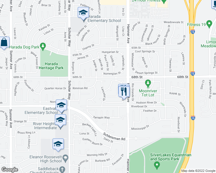 map of restaurants, bars, coffee shops, grocery stores, and more near 12850 Excalibur Drive in Corona