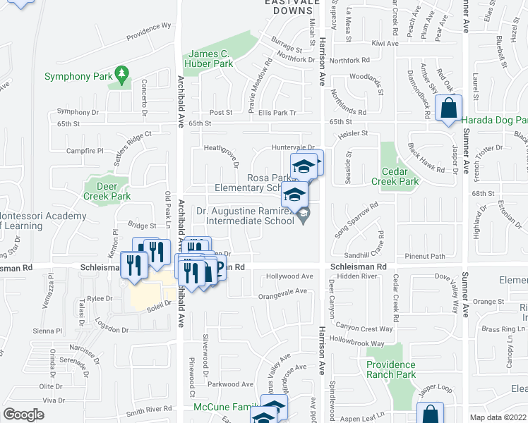 map of restaurants, bars, coffee shops, grocery stores, and more near 6850 Lucite Drive in Eastvale