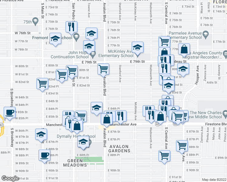 map of restaurants, bars, coffee shops, grocery stores, and more near 629 East 83rd Street in Los Angeles
