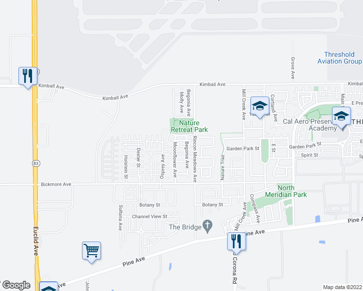 map of restaurants, bars, coffee shops, grocery stores, and more near 15952 Begonia Avenue in Chino