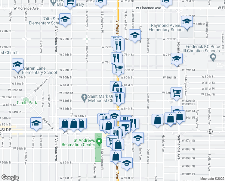 map of restaurants, bars, coffee shops, grocery stores, and more near 1819 W 82nd St in Los Angeles