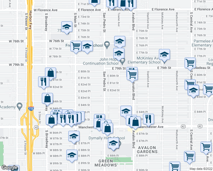 map of restaurants, bars, coffee shops, grocery stores, and more near 8106 South San Pedro Street in Los Angeles