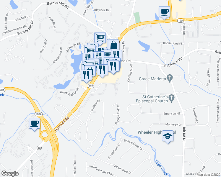 map of restaurants, bars, coffee shops, grocery stores, and more near 2010 Roswell Road in Marietta
