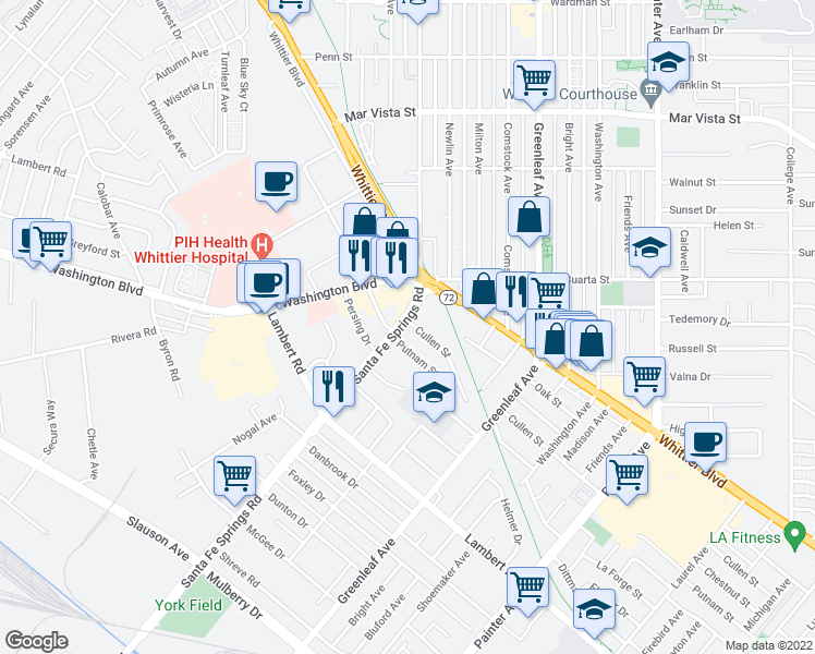 map of restaurants, bars, coffee shops, grocery stores, and more near 12602 Cullen Street in Whittier