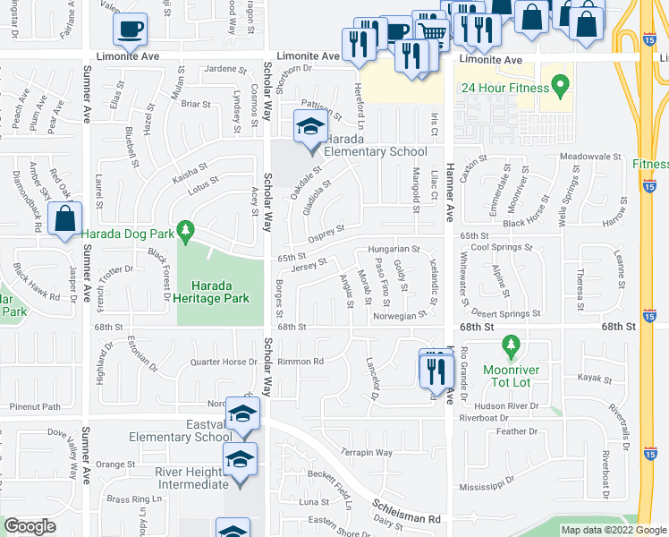 map of restaurants, bars, coffee shops, grocery stores, and more near 12846 Mustang Street in Corona