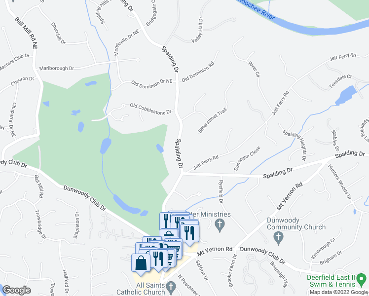 map of restaurants, bars, coffee shops, grocery stores, and more near 3060 Spalding Drive in Atlanta