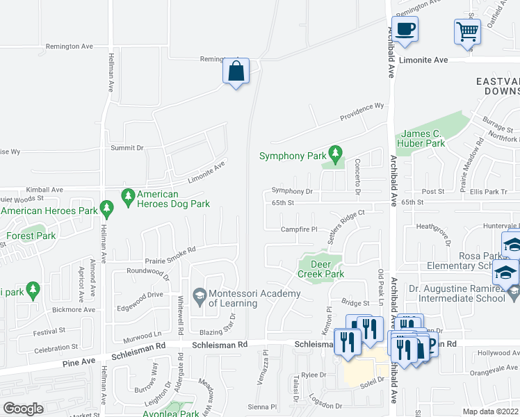 map of restaurants, bars, coffee shops, grocery stores, and more near 6613 Coyote Trail Lane in Corona