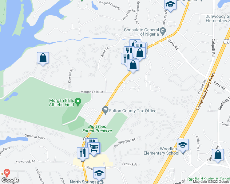 map of restaurants, bars, coffee shops, grocery stores, and more near Roswell Rd & Morgan Falls Rd in Sandy Springs