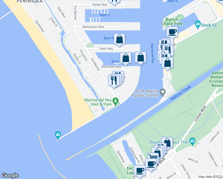 map of restaurants, bars, coffee shops, grocery stores, and more near 14020 Captains Row in Marina del Rey