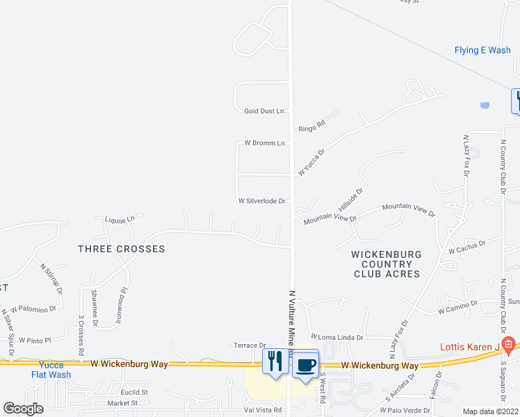 map of restaurants, bars, coffee shops, grocery stores, and more near 2075 West Silverlode Drive in Wickenburg