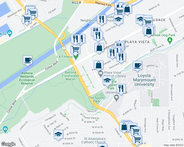 map of restaurants, bars, coffee shops, grocery stores, and more near 13200 Pacific Promenade in Playa Vista
