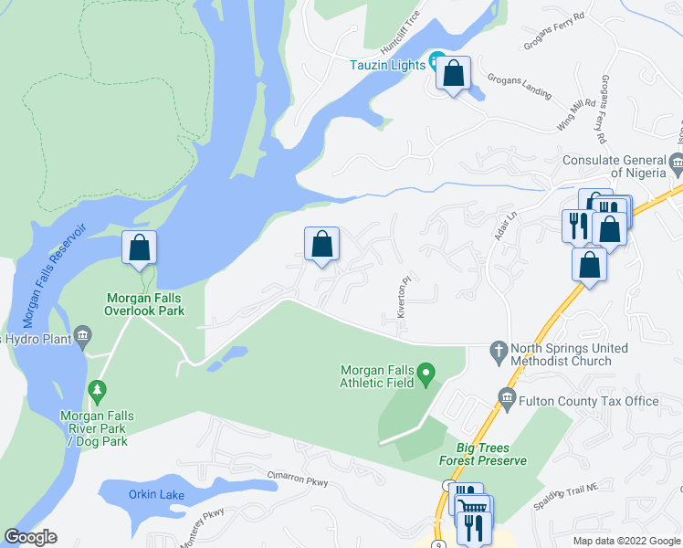map of restaurants, bars, coffee shops, grocery stores, and more near 500 Harbor Pointe Parkway in Sandy Springs