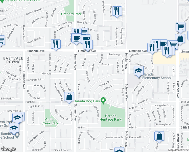 map of restaurants, bars, coffee shops, grocery stores, and more near 6373 Hazel Street in Corona