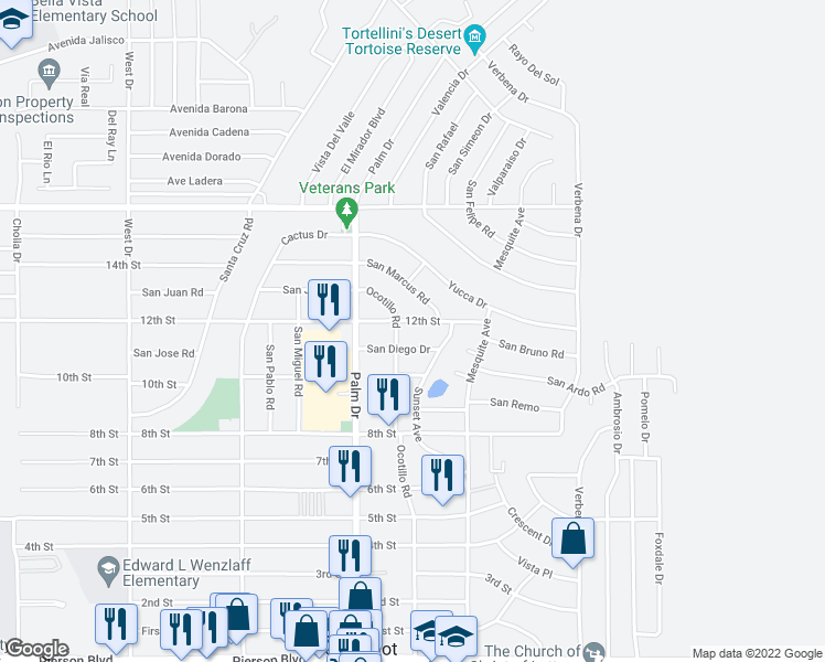 map of restaurants, bars, coffee shops, grocery stores, and more near 66629 12th Street in Desert Hot Springs