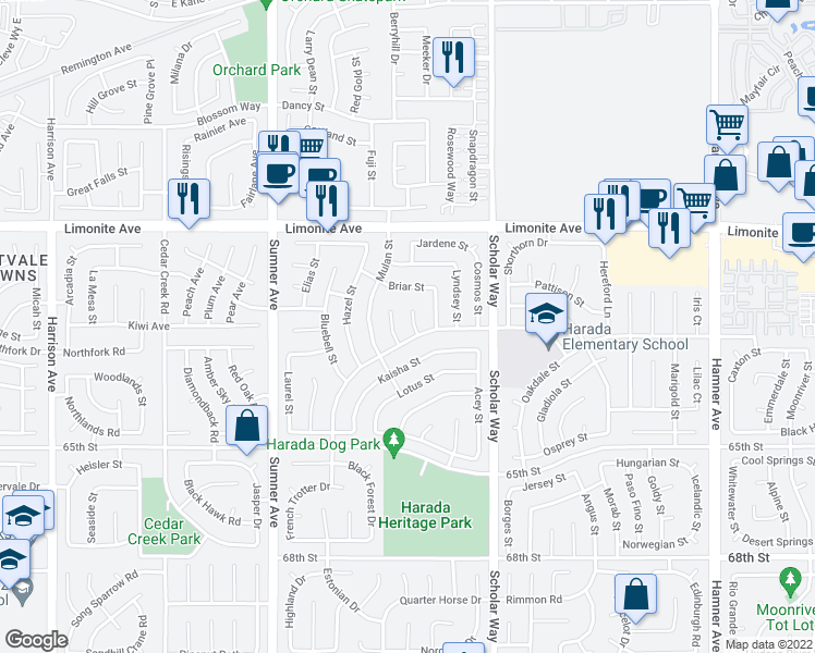 map of restaurants, bars, coffee shops, grocery stores, and more near 6379 Fern Court in Corona