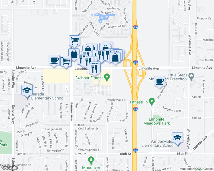 map of restaurants, bars, coffee shops, grocery stores, and more near 12358 Constellation Street in Eastvale
