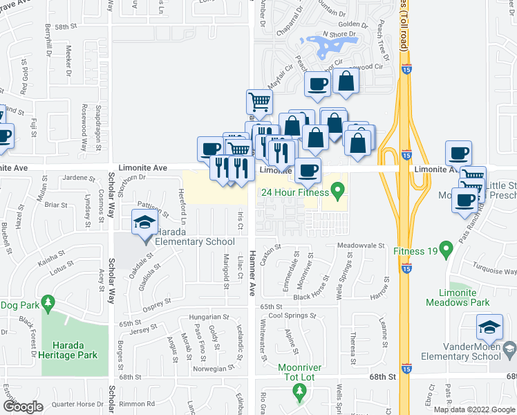 map of restaurants, bars, coffee shops, grocery stores, and more near 12581 Montaivo Lane in Eastvale