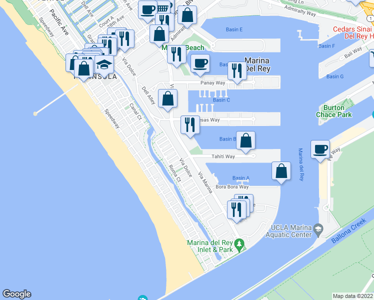 map of restaurants, bars, coffee shops, grocery stores, and more near Vía Marina in Marina del Rey
