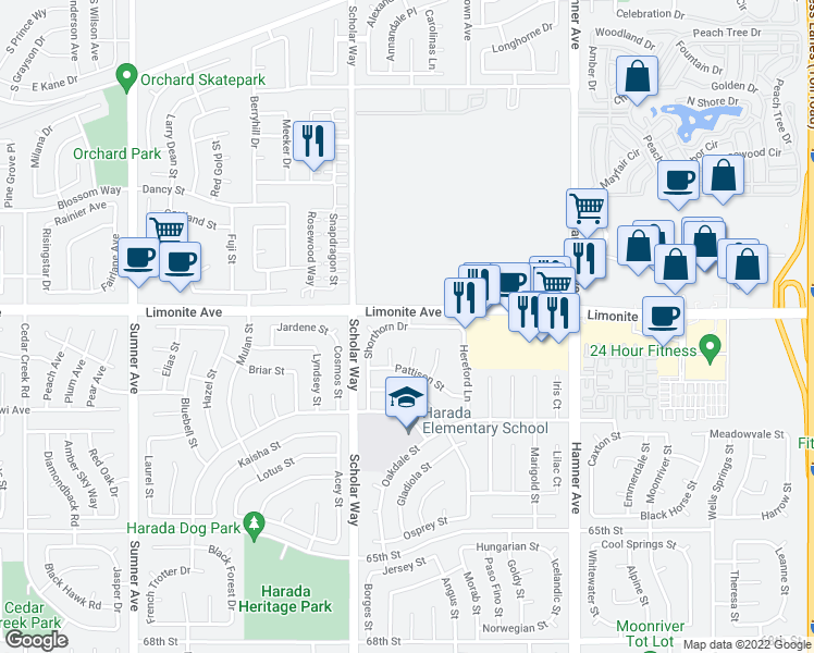 map of restaurants, bars, coffee shops, grocery stores, and more near 12914 Shorthorn Drive in Eastvale
