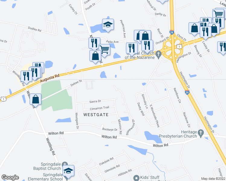 map of restaurants, bars, coffee shops, grocery stores, and more near 604 Saddlecreek Court in West Columbia