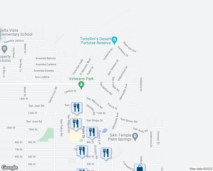 map of restaurants, bars, coffee shops, grocery stores, and more near 66645 Mission Lakes Boulevard in Desert Hot Springs