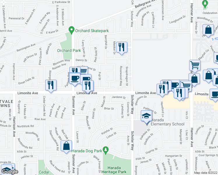 map of restaurants, bars, coffee shops, grocery stores, and more near 13172 Early Crimson Street in Eastvale