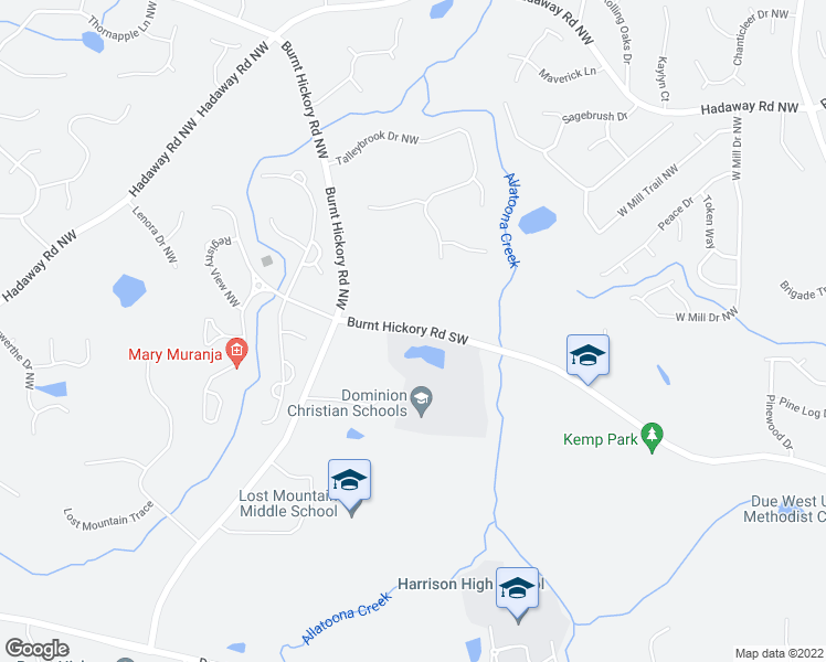 map of restaurants, bars, coffee shops, grocery stores, and more near 4507-4641 Burnt Hickory Road Northwest in Cobb County