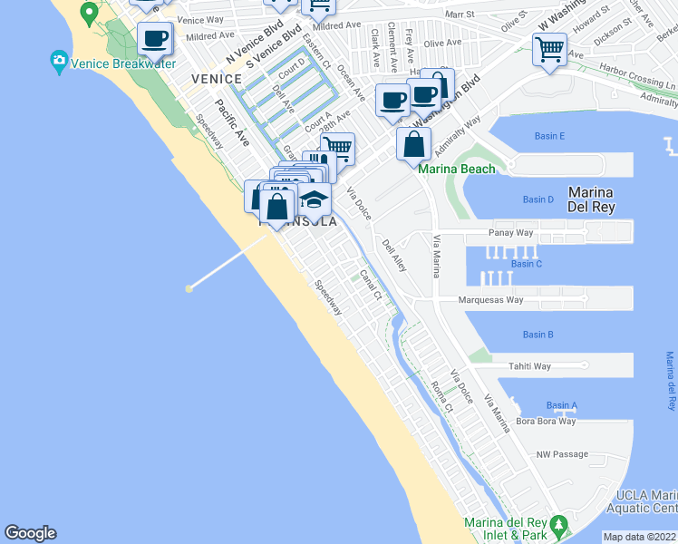 map of restaurants, bars, coffee shops, grocery stores, and more near 3400 Pacific Avenue in Marina del Rey